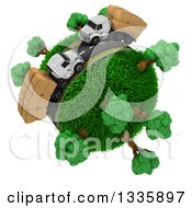Clipart Of A 3d Roadway With Big Rig Trucks Transporting Boxes Driving Around A Grassy Planet With Trees On White Royalty Free Illustration