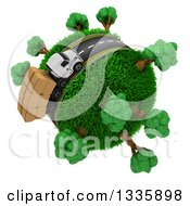 Clipart Of A 3d Roadway With A Big Rig Truck Transporting Boxes Driving Around A Grassy Planet With Trees On White Royalty Free Illustration