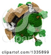 Clipart Of A 3d Roadway With Big Rig Trucks Transporting Boxes Driving Around A Grassy Planet With Trees On White 2 Royalty Free Illustration
