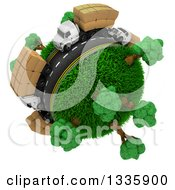 Clipart Of A 3d Roadway With Big Rig Trucks Transporting Boxes Driving Around A Grassy Planet With Trees On White 3 Royalty Free Illustration