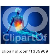 Clipart Of A 3d Anatomical Man Stretching On The Floor In A Yoga Pose With Visible Skeleton And Glowing Back Pain On Blue Royalty Free Illustration