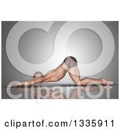Clipart Of A 3d Fit Caucasian Man Stretching In A Yoga Pose On Gray Royalty Free Illustration