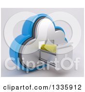 Clipart Of A 3d Cloud Icon With Folders In A Filing Cabinet On Off White Royalty Free Illustration