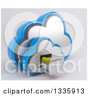 Clipart Of A 3d Cloud Icon With Folders In A Filing Cabinet On Off White 2 Royalty Free Illustration