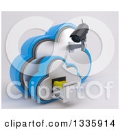 3d Black HD CCTV Security Surveillance Camera Mounted On Cloud Icon With Folders In A Filing Cabinet On Off White