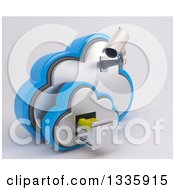 3d White HD CCTV Security Surveillance Camera Mounted On Cloud Icon With Folders In A Filing Cabinet On Off White