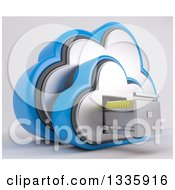 Clipart Of A 3d Cloud Icon With Folders In A Filing Cabinet On Off White 4 Royalty Free Illustration