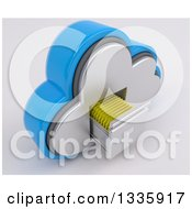 Clipart Of A 3d Cloud Icon With Folders In A Filing Cabinet On Off White 3 Royalty Free Illustration