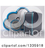 Clipart Of A 3d Pc Desktop Computer Tower And Cloud Security With A Padlock On Shading Royalty Free Illustration