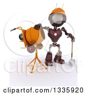 Clipart Of A 3d Red Android Robot Construction Worker Standing By A Cement Mixer On Shading Royalty Free Illustration