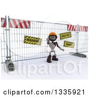 Clipart Of A 3d Red Android Robot Construction Worker Gesturing To Stop In Front Of A Barrier On Shading Royalty Free Illustration