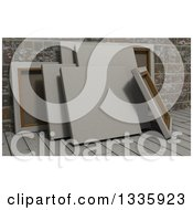 Clipart Of 3d Blank Art Canvases On Wood Over Bricks Royalty Free Illustration