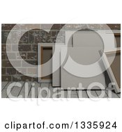 Clipart Of 3d Blank Art Canvases On Wood Over Bricks 2 Royalty Free Illustration