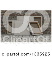 Clipart Of 3d Blank Art Canvases On Wood Over Bricks 3 Royalty Free Illustration