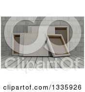 Clipart Of 3d Blank Art Canvases On White Wood Over Bricks Royalty Free Illustration