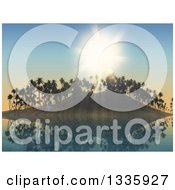 Clipart Of A 3d Reflection And A Tropical Island With Palm Trees Against A Shining Sun Royalty Free Illustration