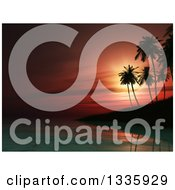 Clipart Of A 3d Tropical Red Sunset Of An Island With Silhouetted Palm Trees Royalty Free Illustration