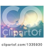 Clipart Of A 3d Sunset And Vintage Flares Over Silhouetetd Tropical Palm Trees Royalty Free Illustration