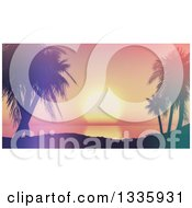 Clipart Of A 3d Tropical Sunset Framed By Silhouetted Palm Trees Royalty Free Illustration