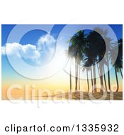 Clipart Of A 3d Tropical Island Sunset Or Sunrise With An Island And Silhouetted Palm Trees Royalty Free Illustration
