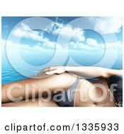 Clipart Of A 3d Cropped Caucasian Woman In A Bikini Over The Ocean And Clouds Royalty Free Illustration