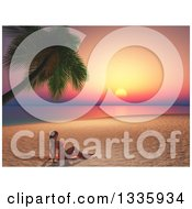 Clipart Of A 3d Caucasian Woman In A Bikini Sun Bathing On A Tropical Beach At Sunset Royalty Free Illustration by KJ Pargeter
