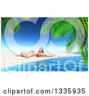 Clipart Of A 3d Caucasian Woman In A Bikini Sun Bathing On A Tropical Beach Framed With Palm Branches Royalty Free Illustration by KJ Pargeter