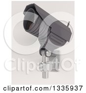 Clipart Of A 3d Black HD CCTV Security Surveillance Camera Mounted On A Wall Tilted Upwards To The Left On Off White Royalty Free Illustration