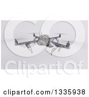 Clipart Of A 3d Metal Quadcopter Drone On Shading Royalty Free Illustration