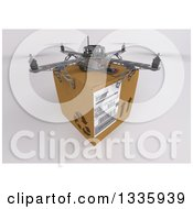 Clipart Of A 3d Metal Quadcopter Drone With A Box On Shading Royalty Free Illustration