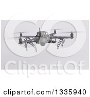 Clipart Of A 3d Metal Quadcopter Drone On Shading 2 Royalty Free Illustration