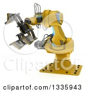 Clipart Of A 3d Yellow Industrial Robotic Arm On White Royalty Free Illustration