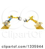 3d Yellow Industrial Robotic Arms On White