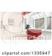 Clipart Of A 3d Half Contemporary Living Room Interior And Half Sketched Royalty Free Illustration by KJ Pargeter