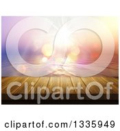 Clipart Of A 3d Wood Dock And Ocean Sunset With Flares Royalty Free Illustration