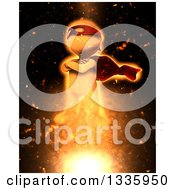 Clipart Of A 3d White Man Super Hero Taking Off With Fiery Explosion Effect Royalty Free Illustration