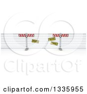 Clipart Of A 3d Construction Barrier Fence With Signs On Shaded White Royalty Free Illustration