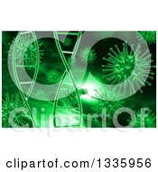Clipart Of A 3d Medical Background Of Green Dna Strands And Viruses Royalty Free Illustration