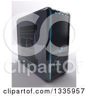 Clipart Of A 3d PC Desktop Computer Tower On Shading Royalty Free Illustration