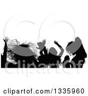 Clipart Of A Crowd Of Black Silhouetted Young Dancers In A Club 2 Royalty Free Vector Illustration by dero