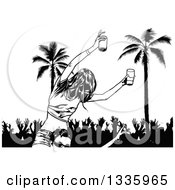 Clipart Of A Black And White Woman Holding Beer On Someones Shoulders Over Party People And Palm Trees Royalty Free Vector Illustration by dero