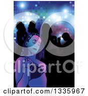 Young Woman In A Bikini Top Against Silhouetted People In A Night Club Over Lights