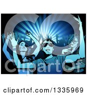 Young People Dancing In A Crowd With Silhouetted Arms Over Blue Rays