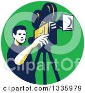 Clipart Of A Retro Male Cameraman Filming In A Green Circle Royalty Free Vector Illustration