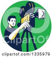 Retro Male Cameraman Filming In A Green Circle