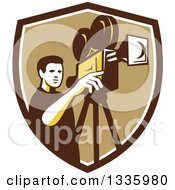 Clipart Of A Retro Male Cameraman Filming In A Brown White And Tan Shield Royalty Free Vector Illustration by patrimonio