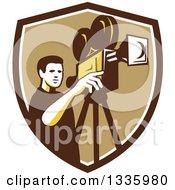 Retro Male Cameraman Filming In A Brown White And Tan Shield