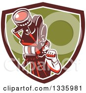 Clipart Of A Retro Male Cameraman Filming In A Maroon White And Green Shield Royalty Free Vector Illustration by patrimonio