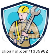 Cartoon White Male Construction Worker Holding A Giant Spanner Wrench Against His Shoulder In A Blue And White Shield