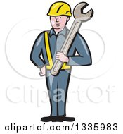 Cartoon White Male Construction Worker Holding A Giant Spanner Wrench Against His Shoulder